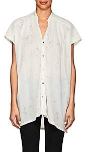 Pas De Calais Women's Animal-Sketch Graphic Cotton Blouse - White
