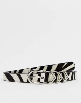 Pieces Stef faux zebra hair leather belt