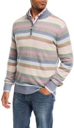 Peter Millar Coach Striped Quarter-Zip Cashmere Sweater, Blue