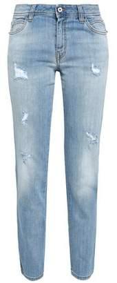 Just Cavalli Distressed Faded Mid-rise Slim-leg Jeans