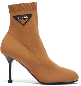 Stretch Knit Logo AppliquA Ankle Boots - Womens - Beige