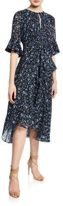 Shoshanna Stellato Floral-Print Ruffle-Sleeve Midi Dress w/ Asymmetric Hem