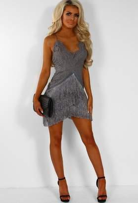 d39c0fcb43 Pink Boutique Shimmer Shimmer Grey Strappy Crochet Fringe Tassel Mini Dress