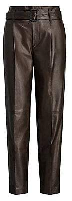 Polo Ralph Lauren Women's Belted High-Waist Leather Pants - Size 0
