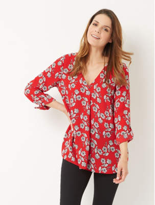 George Red Floral V-Neck Long Sleeve Blouse