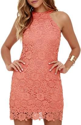 Yacun Women's Cocktail Dress Summer Sleeveless Halter Bridemaid Party Dresses XS