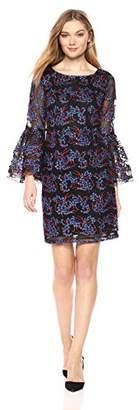 Nicole Miller New York Women's Long Bell Sleeve Embroidered Tulle Sheath Cocktail Dress