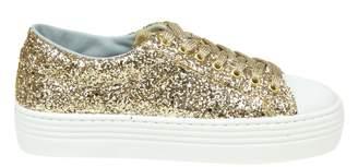 Chiara Ferragni Glittered Sneakers Color Gold