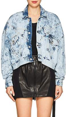 Taverniti So Ben Unravel Project Women's Snake-Print Bleached Denim Crop Jacket