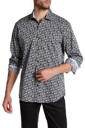 Bristol & Bull Long Sleeve Contrast Trim Paisley Classic Fit Sport Shirt