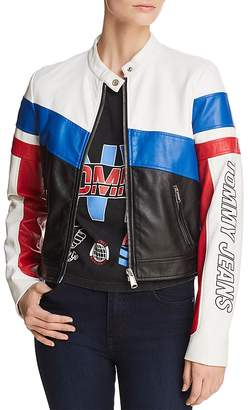 Tommy Jeans Color-Block Faux Leather Racing Biker Jacket - 100% Exclusive
