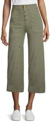 Sundry Embroidered Button-Front Pants