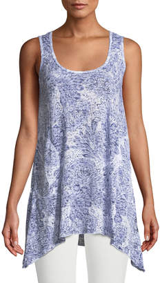 Allen Allen Feather Burnout Handkerchief Tunic Tank with Pockets