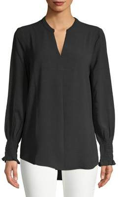 Lord & Taylor Georgie Smocked Sleeve Blouse