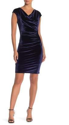 Hale Bob Velvet Cowl Neck Dress