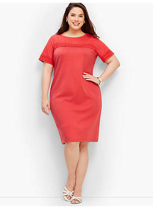 Talbots Lace-Trimmed Interlock Shift Dress
