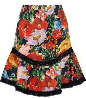 Alice + Olivia Eriko Lace-trimmed Floral-print Cotton-blend Mini Skirt