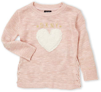 DKNY Toddler Girls) Heart Side Lace-Up Sweater