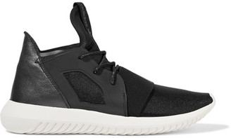 adidas Originals - Tubular Defiant Neoprene And Metallic Leather Sneakers - Black $110 thestylecure.com