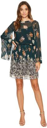 Donna Morgan Short Dress with Smock Detail and Sunburst Pleat Sleeves Women's Dress
