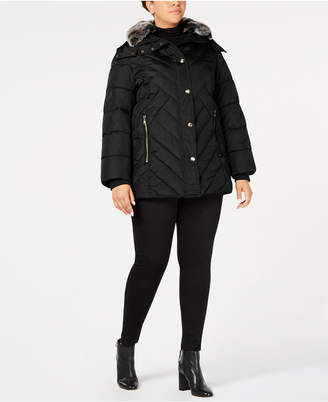 London Fog Plus Size Faux-Fur-Trim Puffer Coat