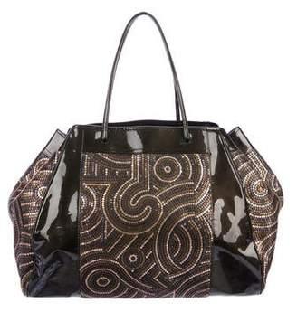 Fendi Embellished Patent Leather Tote