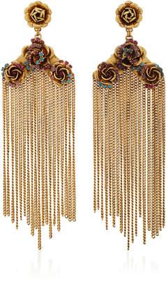 Erickson Beamon Vermeil Bouquet 24K Gold-Plated Crystal Fringe Earrings