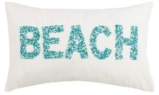 "Peking Handicraft Beach Beaded Pillow - 12\""x20\"" - Blue/White"