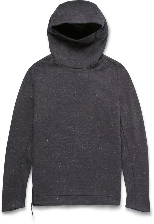 Funnel-Neck Cotton-Blend Tech Fleece Hoodie