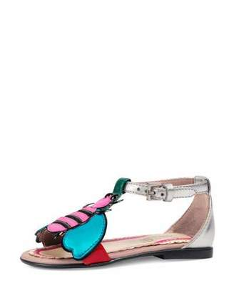 Gucci Metallic Leather Graphic Sandal, Toddler $395 thestylecure.com