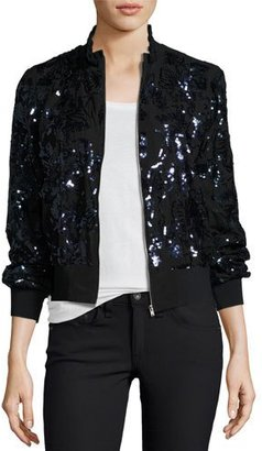 Rebecca Taylor Sequined Silk Bomber Jacket $695 thestylecure.com