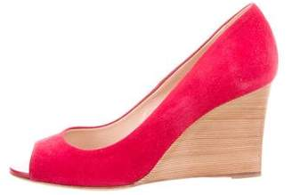 Tod's Suede Peep-Toe Wedges