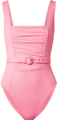 Nicholas Belted Ruched Stretch-piqué Swimsuit - Baby pink