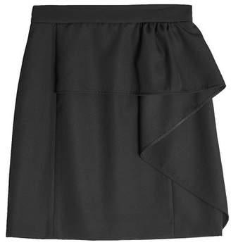 Tara Jarmon Virgin Wool Skirt with Ruffle
