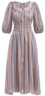 Arabella Three Graces London Striped Linen Blend Midi Dress - Womens - Navy Stripe