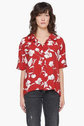 Genuine People Tropical Print Linen Shirt