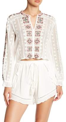 ALLISON NEW YORK Eyelet Lace Embroidered Button Down Blouse