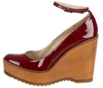 Stella McCartney Vegan Leather Round-Toe Wedges