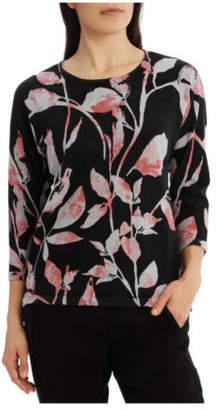 Jump NEW 7/8 Dolman Sleeve Printed Leaf Pullover Black