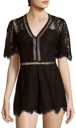 Lovers + Friends Women's Josephine Scalloped Floral Lace Romper