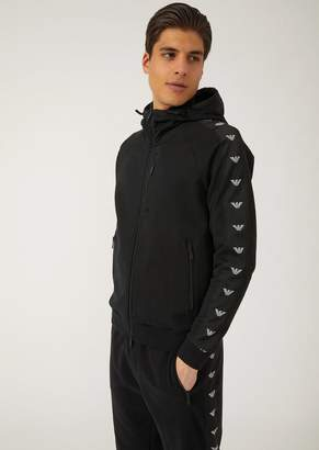 Emporio Armani Cotton Zip-Up Sweatshirt With Logo Stripes And Hood