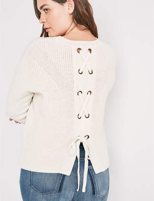 Lucky Brand BACK LACE PULLOVER SWEATER