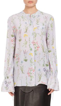 Altuzarra Christina Floral Silk Bell-Sleeve Shirt, Lilac