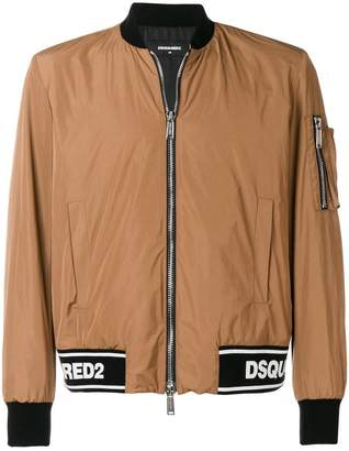 DSQUARED2 logo ribbed bomber jacket
