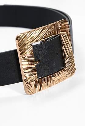 Pink Boutique Tamed Black Gold Square Buckle Belt