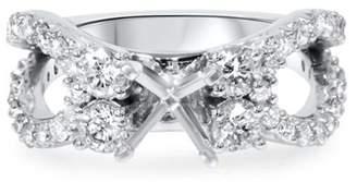 Pompeii3 1 1/5Ct Diamond Engagement Ring Setting 14K White Gold Semi Mount Split Shank
