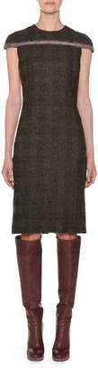 Agnona Cap-Sleeve Fitted Alpaca Tweed Check Dress