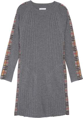 Burberry Cathina Check Detail Wool & Cashmere Sweater Dress