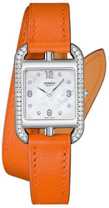 Hermes Cape Cod PM Watch with Diamonds & Leather Strap, Orange