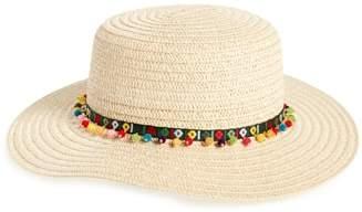 Caslon Bead Trim Straw Boater Hat